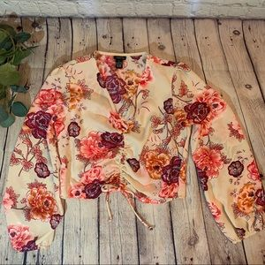 Rue 21 Floral Long Sleeve Draw String Crop Top